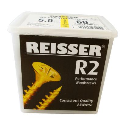 Reisser R2 Tub 5mm x 60mm Pack of 500 Countersunk Recess Woodscrew
