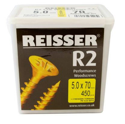 Reisser R2 Tub 5mm x 70mm Pack of 450 Countersunk Recess Woodscrew