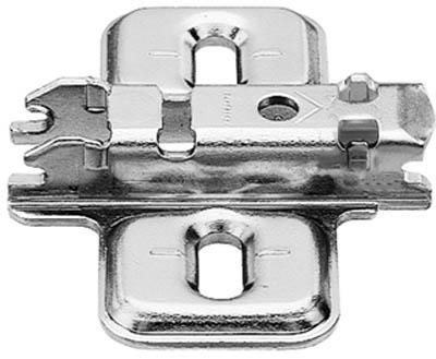 BLUM CLIP mounting plate, cruciform, 0 mm, steel, screw-on, HA: elongated hole: 173L6100