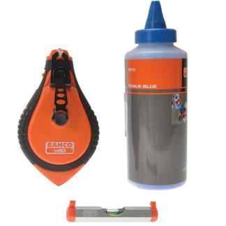Bahco Blue Chalk, Chalk Line, Line Level Set