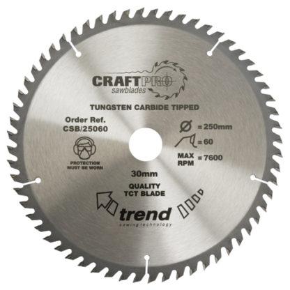 Trend Craft saw blade 250mm x 60 teeth x 30mm  : CSB/25060
