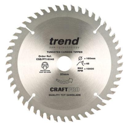 Trend Craft saw blade panel trim 160mm x 48 teeth x 20mm  : CSB/PT16048