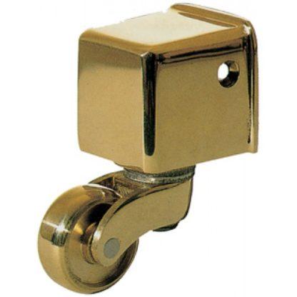 25mm Armac Martin 1324 Square Toe Table Leg & Furniture Castor - Polish Brass Finish