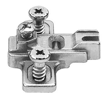 BLUM MODUL mounting plate, cruciform (14/32 mm), 3 mm, zinc, pre-mount. syst. screws, HA: elongated hole: 199.8130