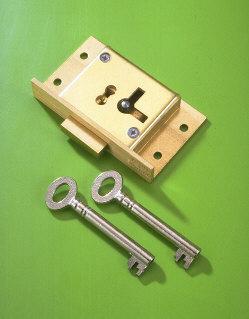 A & E Squire No.61 65mm Right Hand 4 Lever Cupboard Lock Brass Cut