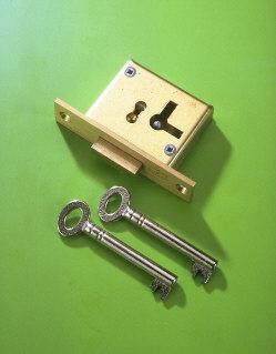 A & E Squire No.15 50mm Right Hand 2 Lever Mortice Cupboard Lock Brass