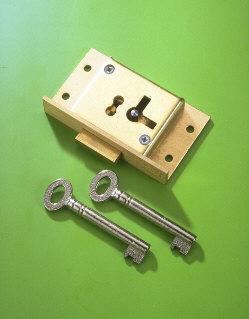 A & E Squire No.61 75mm Right Hand 2 LeverCupboard Lock Brass Cut