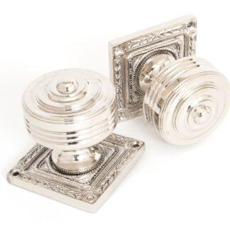 Anvil Tewkesbury Square Mortice Knob Set Polished Nickel
